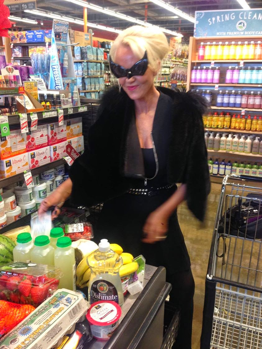 Amanda Rocking spanx in high heels with Rick Owens jacket and cat eyes at  Wholefoods