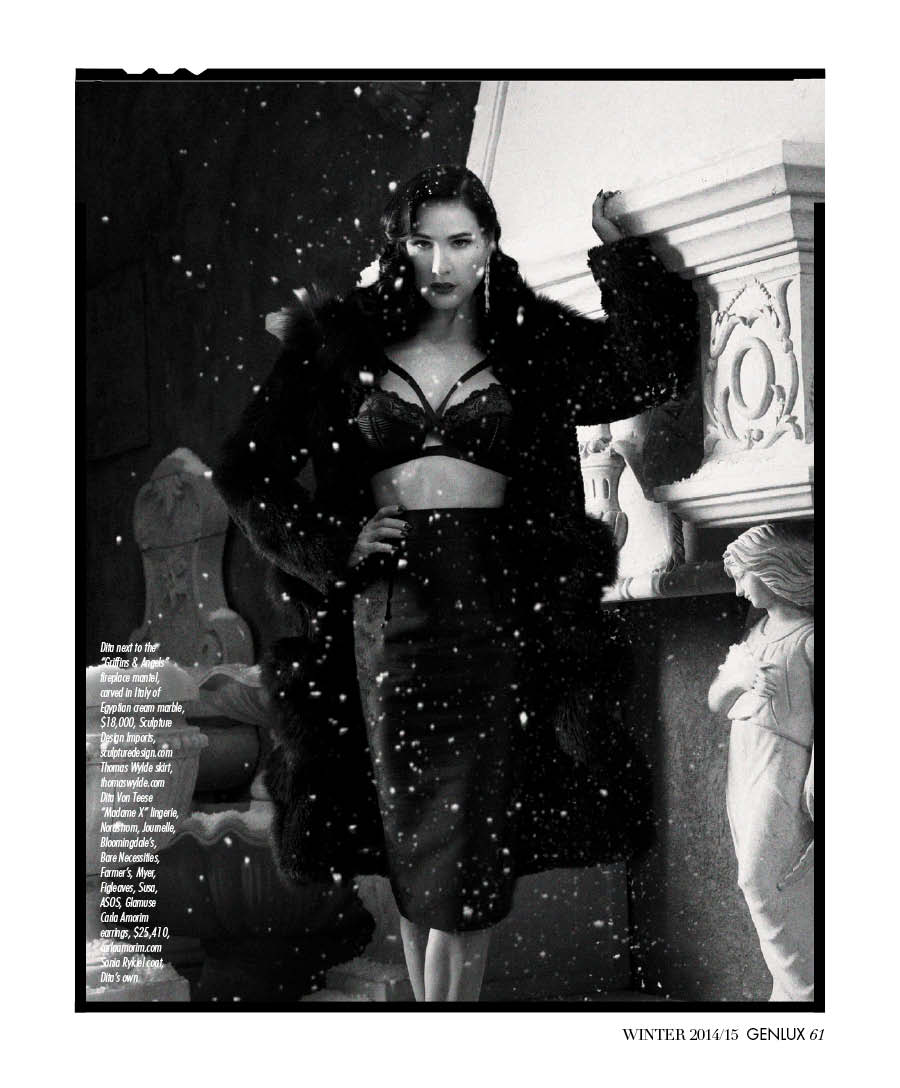 Dita Von Teese wearing Dita Von Teese in the snow. We used plastic snow for this—hey, we're in Beverly Hills.