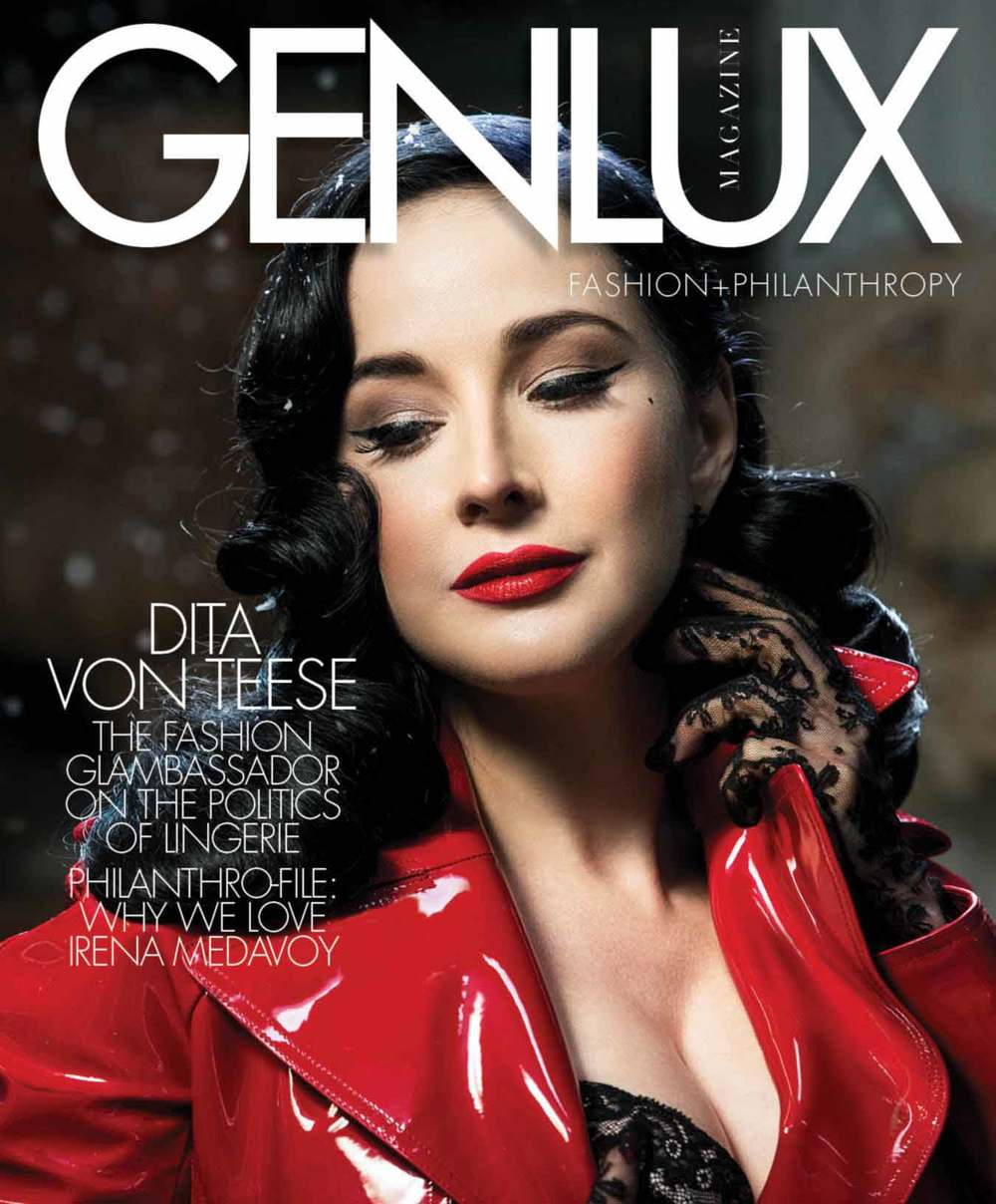 Genlux Winter 2014/15 cover with Dita Von Teese wearing Valentino coat and Dita Von Teese lingerie and gloves