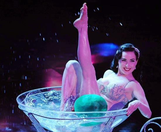 Dita Von Teese in her famous martini glass burlesque performance
