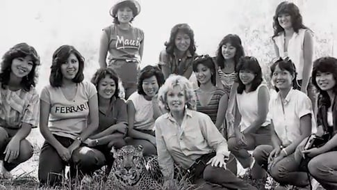 "Tippi Hedren with the Vietnamese women she taught to ""fish"""