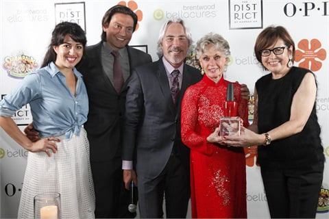 OPI executive VP Suzi Weiss-Fischmann along with Bellacures founder Samira Far, Bellacures Brentwood owner Gerard Quiroga, and event producer Michael Habicht, presented Hedren with the Believe, Achieve, Empower Award for her selfless work