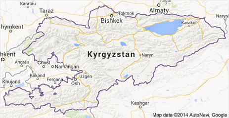 Map of Kyrgyzstan (Source: Google and AutoNavi)