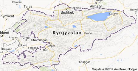Map of Kyrgyzstan (Source: Google and AutoNavi)