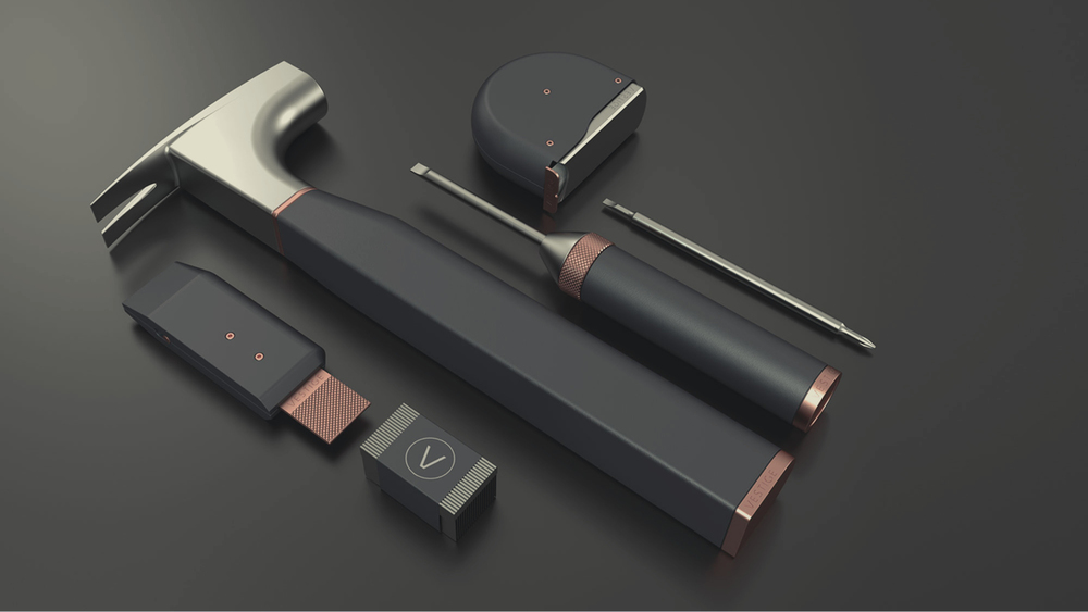 By paring down the selection of tools to the absolute necessities - hammer, cut, drive, and measure - the Vestige Toolkit maintains a compact form factor while conveying a simple and clear use case.