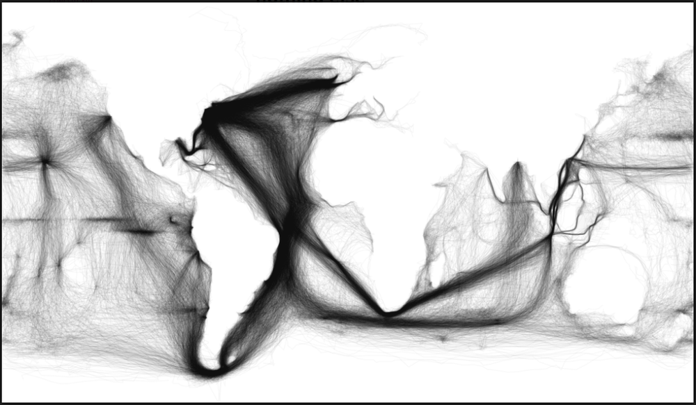 Visualization of Nautical Trading Routes in the 1800's