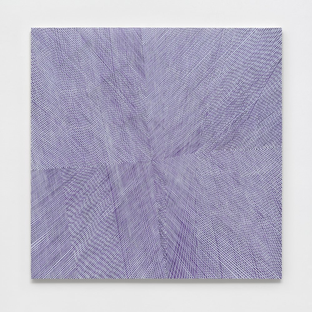 Lilac Aura, 2017, acrylic and interference color on panel, 60x60x2 inches
