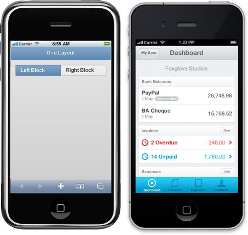 Left: jQuery Mobile. Right: Sencha Touch