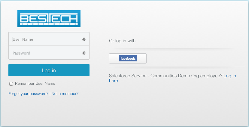 Sample Communities login page with Facebook SSO and branding