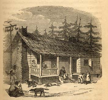 Small planter's house in South Carolina, 1856, from Frederick Law Olmsted's Journey in the Seaboard Slave States. Courtesy of the University of North Carolina.