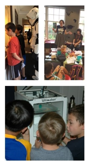 Clockwise from top left: Star Wars Day, Teen Reading Lounge, and 3D Printing Demonstration