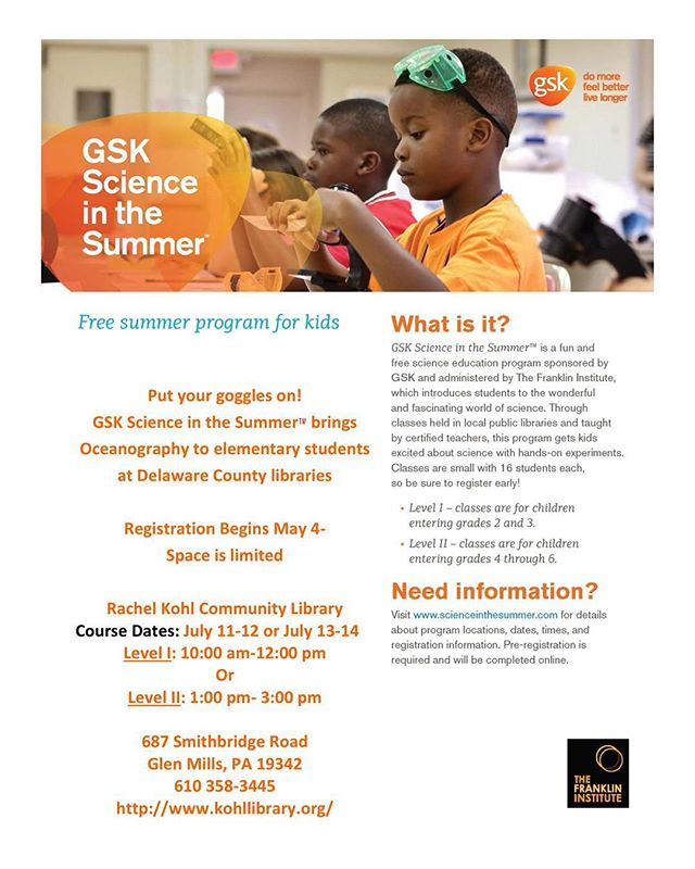 OMG, it's almost time to register for Science in the Summer! Kids who will be entering Grades 2-6 next year will be learning about oceanography. Registration begins May 4 and space is limited! #scienceinthesummer #gsk #franklininstitute #oceanography