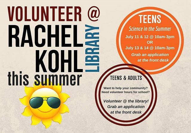 Stay cool at the library this summer by volunteering! #rkl #volunteer #glenmills #garnetvalley