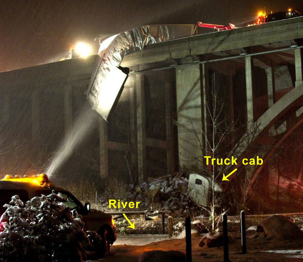 TRUCK ACCIDENT I-5 SACRAMENTO RIVER BRIDGE IN DUNSMUIR JAN. 1, 2011
