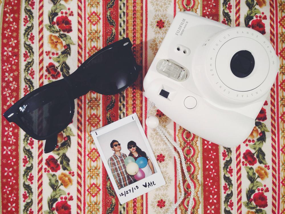 My sister's Raybans and Fujifilm Instax Mini 8