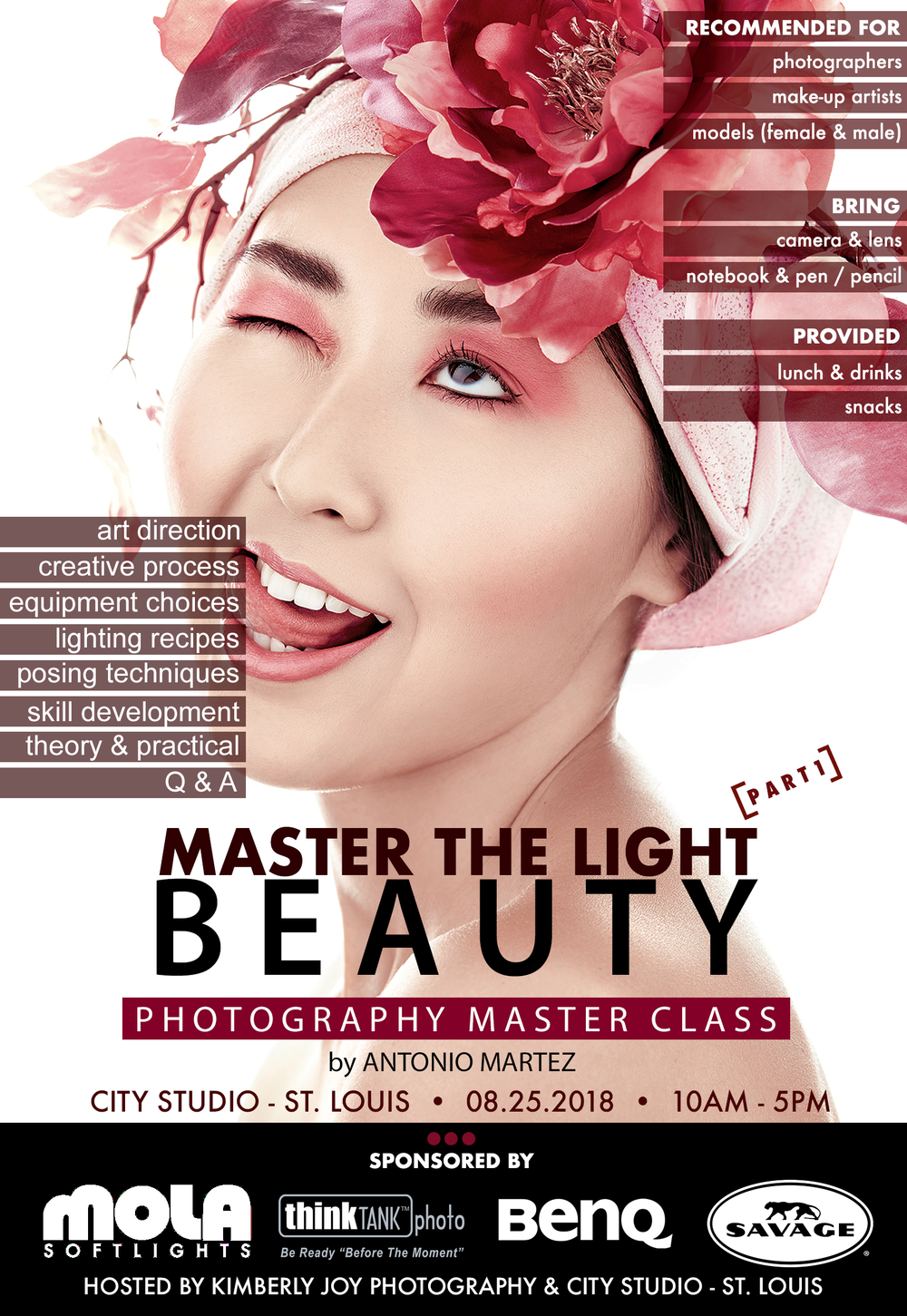Master The Light Beauty Photography Workshop by Antonio Martez, NYC based Fashion & Beauty Photographer