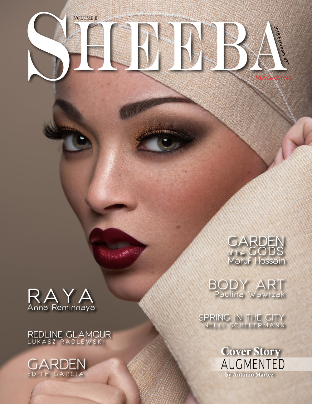SHEEBA - FEBRUARY 2018   AUGMENTED beauty editorial by Antonio Martez, New York Fashion Photographer, was featured in the February 2018 edition of Sheeba Magazine. The editorial was a Cover & Feature Spread for that edition.