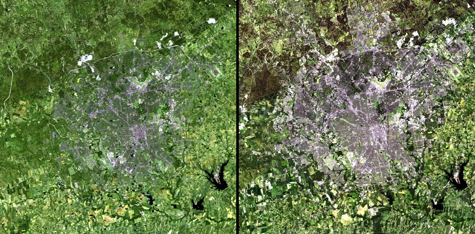 NASA image of San Antonio sprawl/growth from 1991 to 2010
