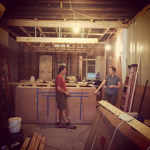 The Frosted Fox bakery is underway! #construction #interiordesign #cupcakes #wes Anderson #restaurantdesign