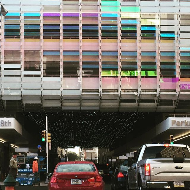 Love the facade of this parking garage on 8th Street. #colored panels #facade #architecture
