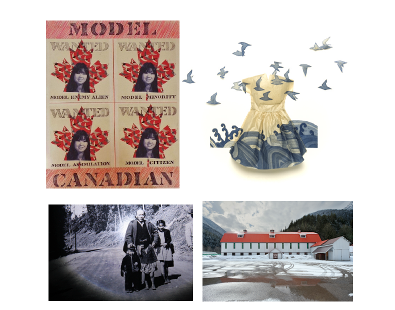 (Left to Right, Top to Bottom) Lillian Michiko Blakey, Wanted: Model Canadian, 2011, mixed media on canvas, 24 x 20 in., Collection of the Artist. Emma Nishimura, Carried Along, 2008, Etching with aquatint and thread, 14 x 14 x 1 in., Collection of the Nikkei National Museum, Burnaby. Cindy Mochizuki, Panorama Series I, 2012, Portrait Pinhole, Photo Set 4: Artist's father as a young boy with his brother in Slocan, B.C., photograph and LED Light, Collection of the Artist. Leslie Hossack, Large Barn,Site of Tashme Internment Camp, Sunshine Valley, British Columbia, 2013, pigment ink on gloss baryta, 14 x 20.5 in., Collection of the Artist.