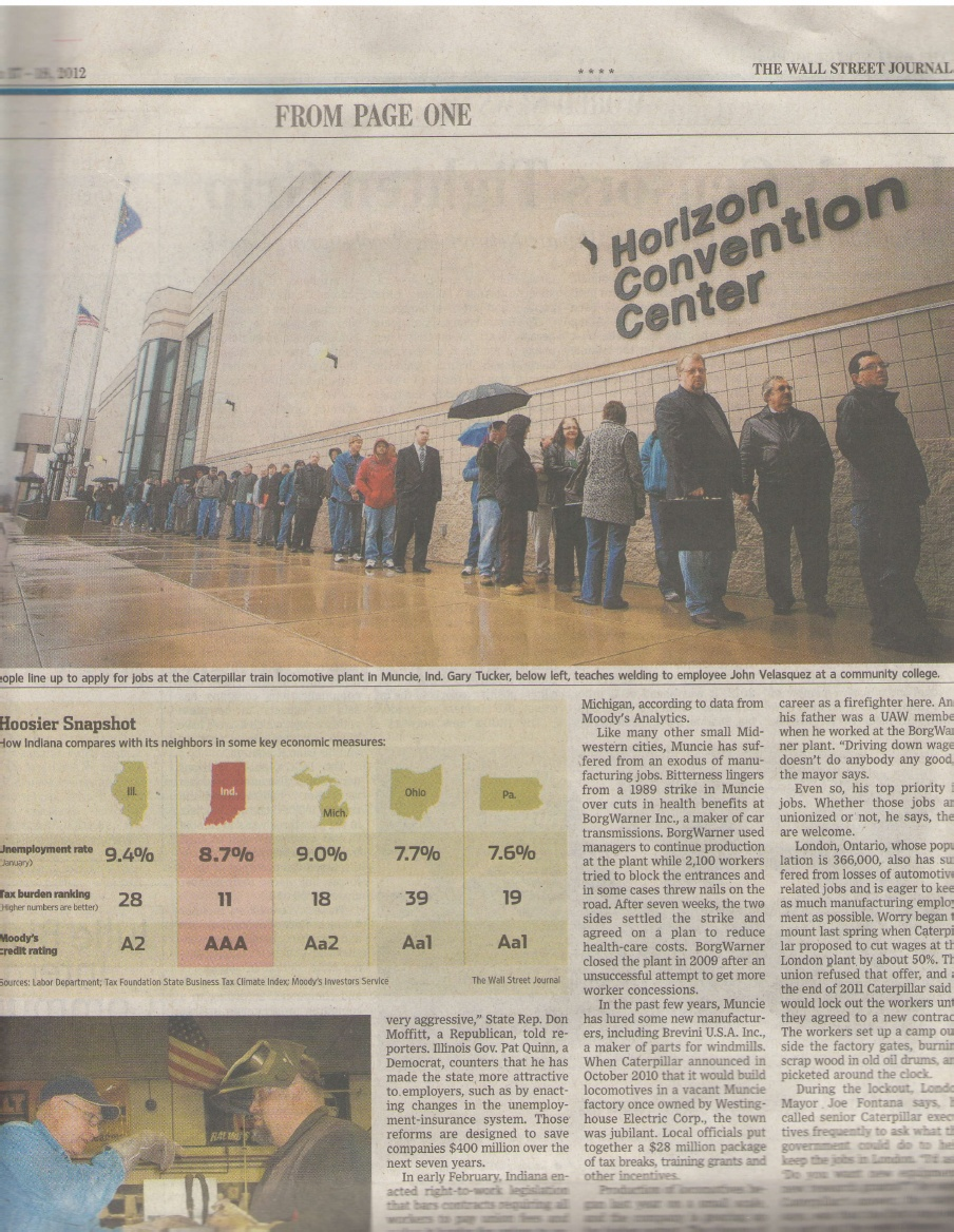 Photo published in Wall Street Journal. Muncie, Indiana. March 17, 2012.