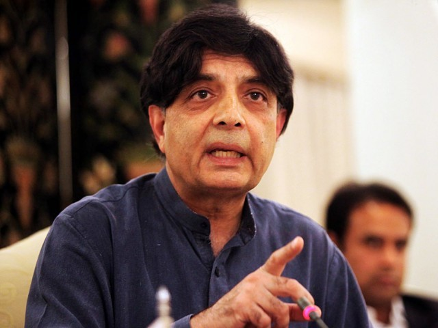 Interior Minister Chaudry Nisar. Copyright The Express Tribune