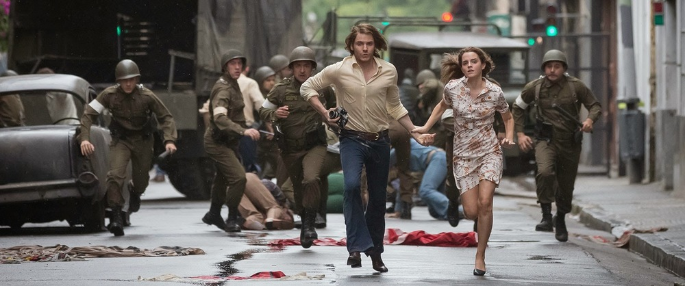 Scene from Colonia with Daniel Brühl and Emma Watson.