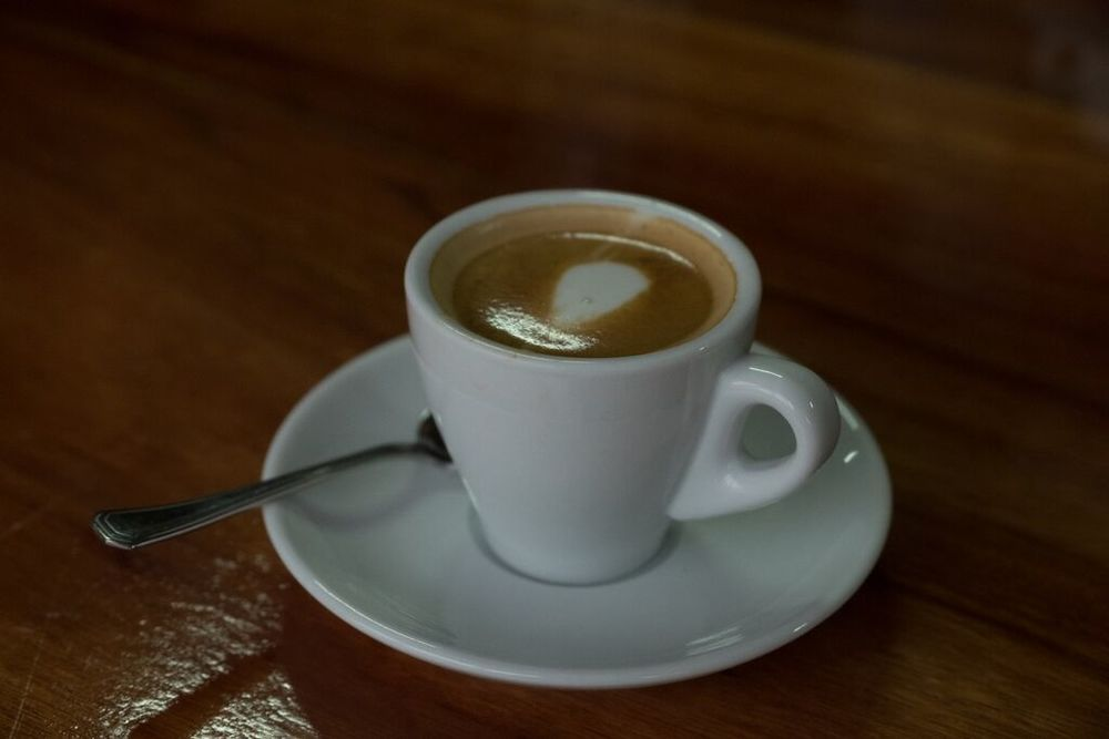 Laura's cup of macchiato, filled with deliciousness!