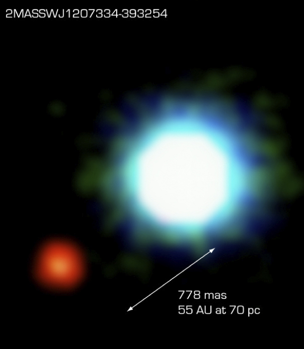 2M1207B, BOTTOM LEFT, THE FIRST EXOPLANET DETECTED DIRECTLY-PHOTO VIA EUROPEAN SOUTHERN OBSERVATORY (ESO)