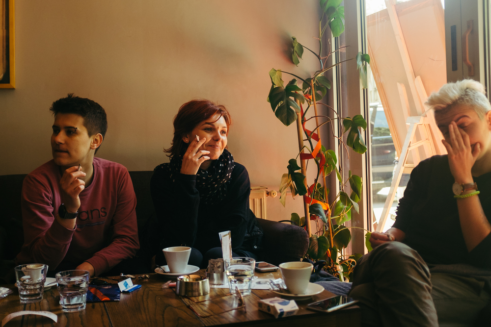 Relaxing after the protest at Kino Meeting Point, one of the few gay-friendly cafes in Bosnia.  (MEL HATTIE/PHOTOGRAPHERS WITHOUT BORDERS)