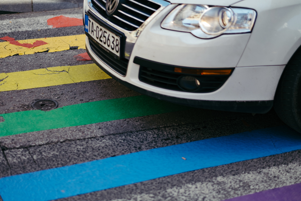 A crosswalk in downtown Sarajevo, painted with rainbows for the International Day Against Homophobia and Transphobia, May 17, 2016.  (MEL HATTIE/PHOTOGRAPHERS WITHOUT BORDERS)