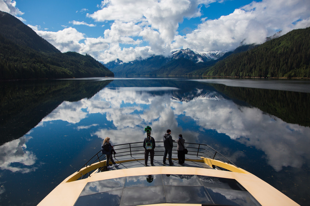 Khutzeymateen's visitors enjoy the scenery from the safety of a boat.  Clint Fraser, 2016