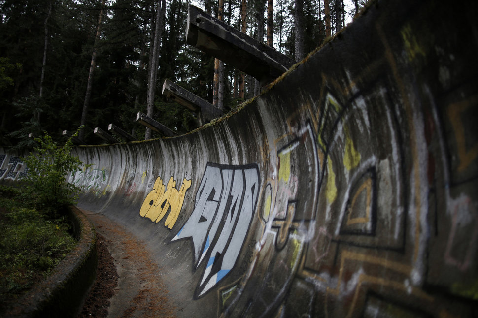 Disused bobsleigh track from the Sarajevo 1984 Winter Olympics on Mount Trebevic, Sept. 19, 2013.Photo by Dado Ruvic / Reuters