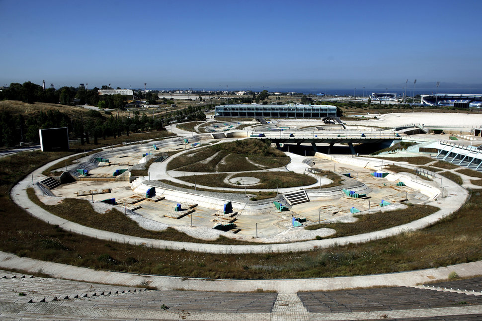 The disused Olympic canoe/kayak stadium in Athens on June 11, 2012. Photo by ANGELOS TZORTZINIS/AFP/Getty Images