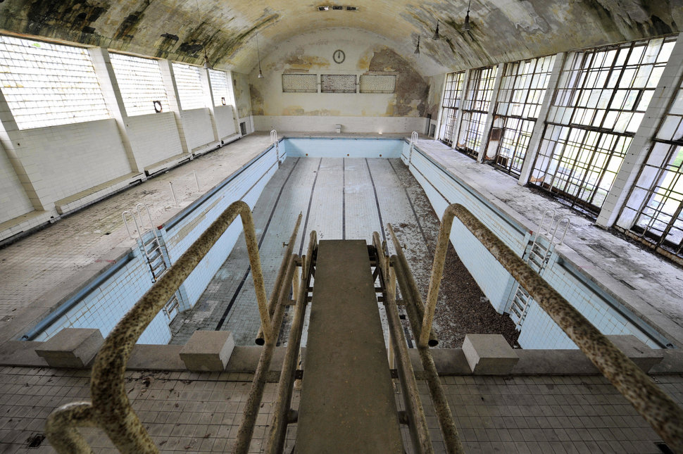The swimming pool in the 1936 Olympic village in Elstal, west of Berlin, on May 5, 2008. Photo by JOHN MACDOUGALL/AFP/Getty Images