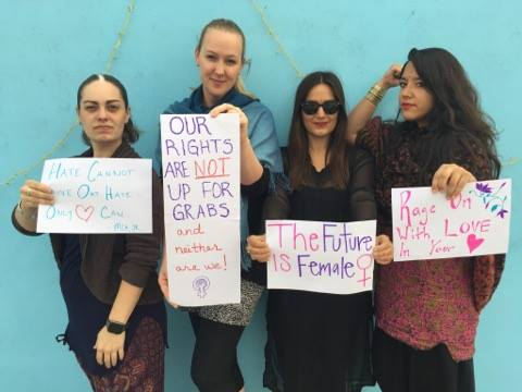 PWB's own Danielle Da Silva and three empowered women before the march in India. PHOTO BY BHAYA CHANTI.
