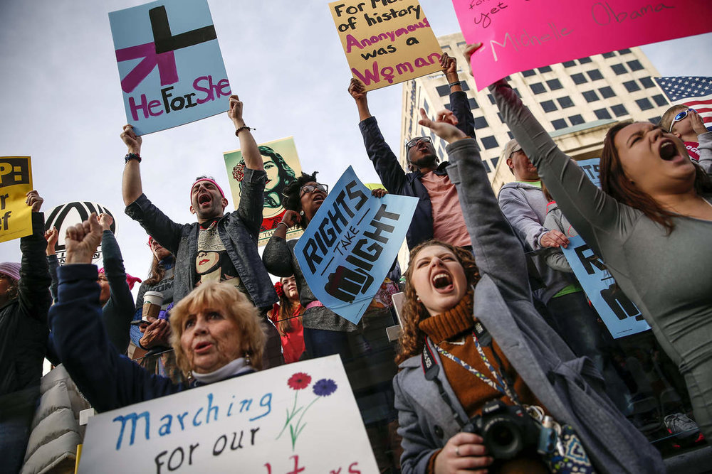 Indianapolis Women's March. PHOTO BY MYKAL MCELDOWNEY/THE INDIANPOLISH STAR VIA ASSOCIATED PRESS.