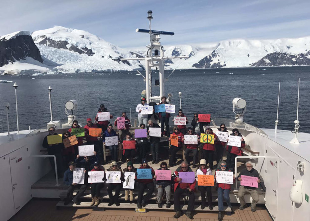 Antarctica supporting the Women's March. PHOTO BY LINDA ZUNAS.