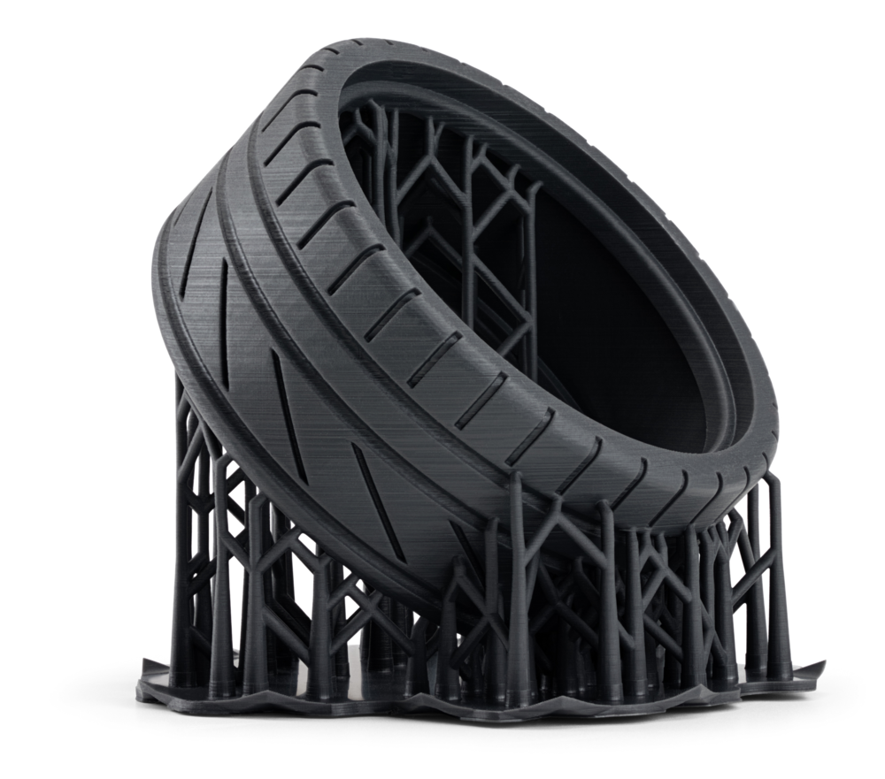 SLA 3D printed flexible tire on 'supports'. (Source:http://bit.ly/2wyIvN4)
