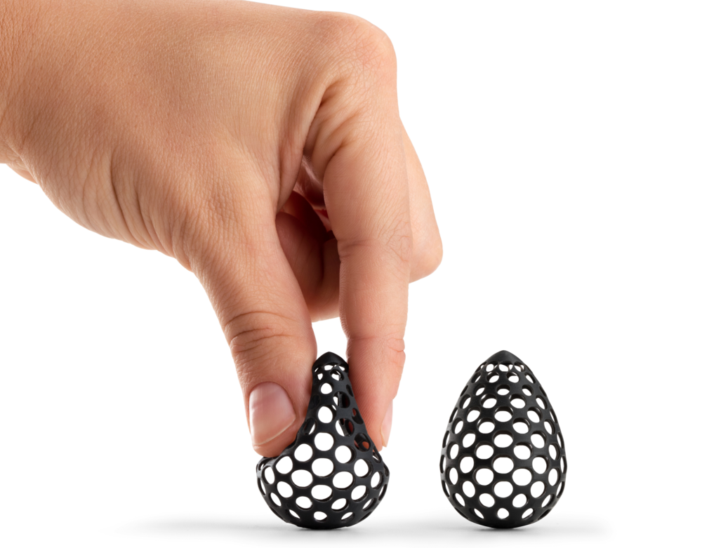 Example of an egg shaped form 3D printed in a flexible material using an SLA 3D printer. (Source: http://bit.ly/2k4hajb)