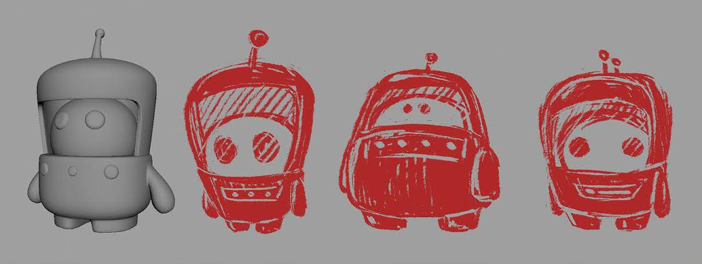 Photo courtesy of Christina Douk: First model made of the robots by Christina and a sketch over done by friend Tu Anh Nguyen to help figure out shapes and forms.