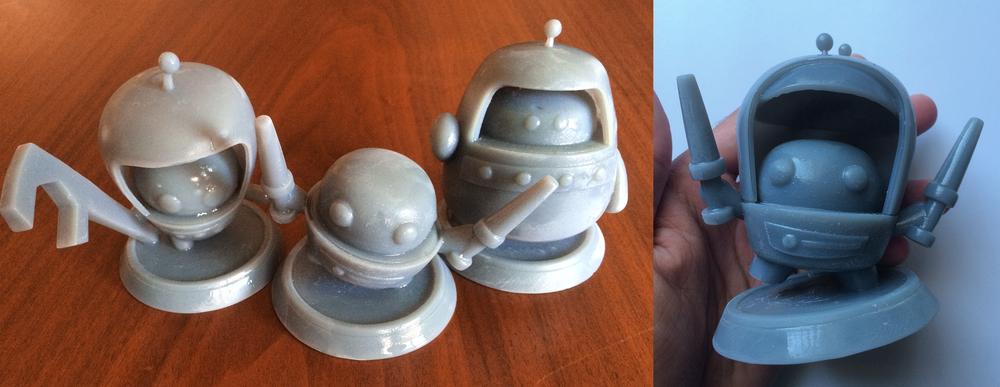 Photo courtesy of Christina Douk: First 3 robots created.