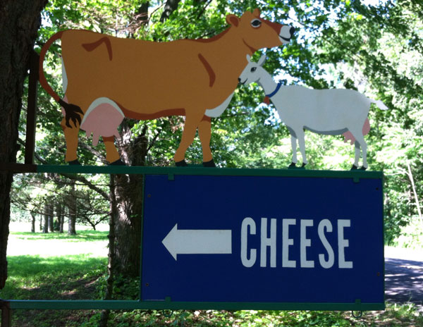 Cow and goat cheese sign.