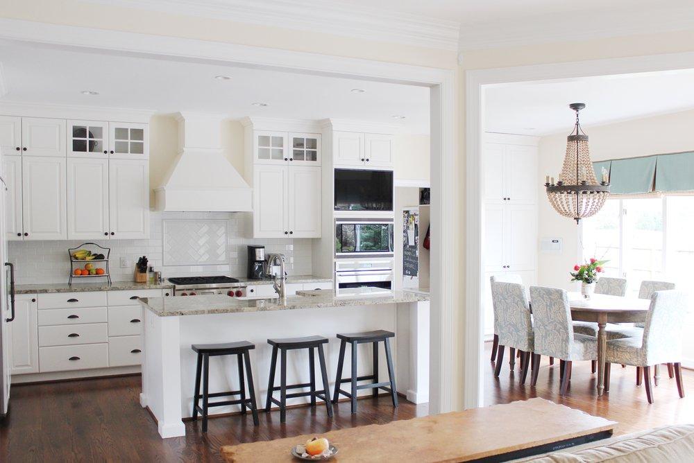 Bright Virginia Beach Kitchen Remodel Chandelier Custom Cabinets Hardwood Flooring.jpg
