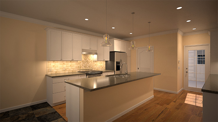 This is 3D rendering of the new kitchen remodel design, which involved removing the dividing wall shown in the above before photo.