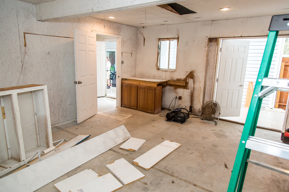 At one of our first meetings with our clients, we took this photo of their existing detached garage that they wished to transform into a multi-functional family space.