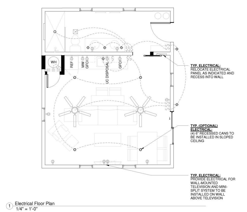 Floorplan including electrical details.