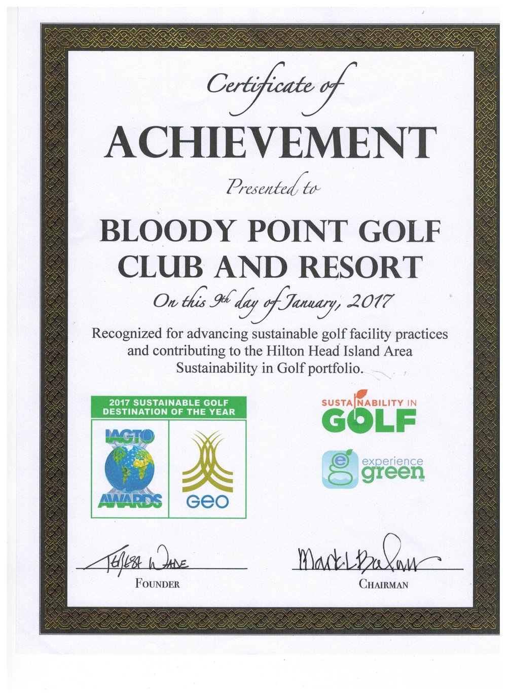 recognized by sustainability in golf & experience green for advancing sustainable golf course practices