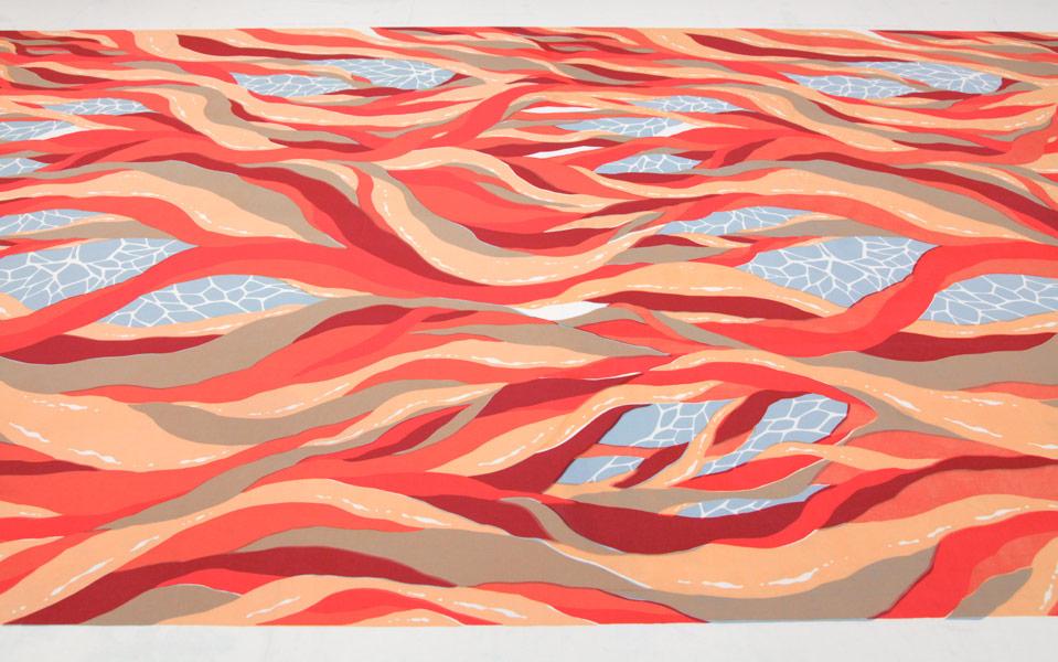 Run Forever, screen print on muslin, 2013